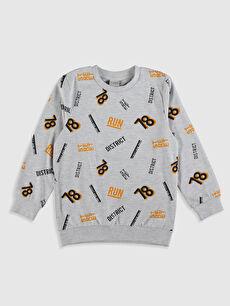Gri Erkek Çocuk Baskılı Sweatshirt 0S1265Z4 LC Waikiki