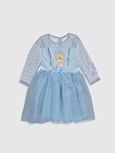 Kız Çocuk Elsa Baskılı Elbise