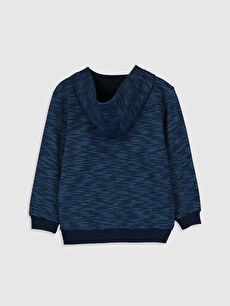 %100 Pamuk  Erkek Çocuk Fermuarlı Kapüşonlu Sweatshirt
