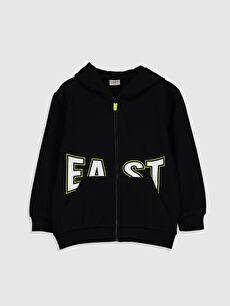 Siyah Erkek Çocuk Fermuarlı Kapüşonlu Sweatshirt 0S1544Z4 LC Waikiki
