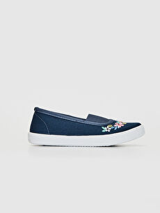Lacivert Kız Çocuk Çiçek Nakışlı Bez Babet Ayakkabı 0S2349Z4 LC Waikiki