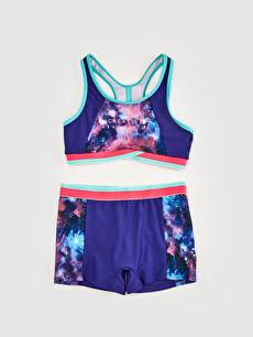 Mor Kız Çocuk Baskılı Bikini 0S2995Z4 LC Waikiki