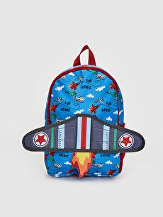 Mavi Erkek Çocuk Uçak Silüetli Sırt Çantası 0S3533Z4 LC Waikiki