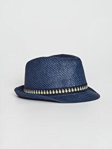 Erkek Çocuk Biye Detaylı Hasır Fötr Şapka