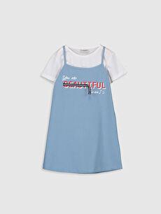 Mavi Kız Çocuk Baskılı Elbise ve Tişört 0S5002Z4 LC Waikiki