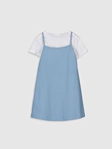 %72 Pamuk %24 Polyester %4 Elastan %100 Pamuk Baskılı Bisiklet Yaka Denim Görünümlü Elbise Mini Kız Çocuk Baskılı Elbise ve Tişört