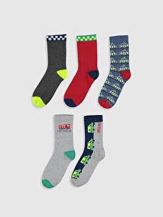 %50 Pamuk %19 Poliester %17 Poliamid %12 Akrilik %2 Elastan Kendinden Desenli Dikişli Soket Çorap Erkek Çocuk Soket Çorap 5'li