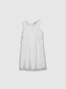 Beyaz Kız Çocuk Dantelli Pileli Elbise 0S5441Z4 LC Waikiki