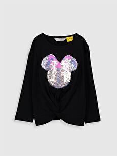 %100 Pamuk Standart Baskılı Uzun Kol Tişört Bisiklet Yaka Kız Çocuk Minnie Mouse Çift Yönlü Payetli Pamuklu Tişört