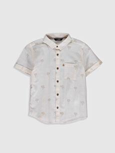 Bej Erkek Çocuk Desenli Poplin Gömlek 0S6807Z4 LC Waikiki