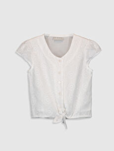 Beyaz Kız Çocuk Fisto Detaylı Pamuklu Gömlek 0S9280Z4 LC Waikiki