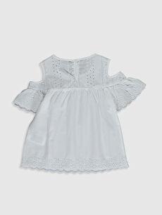 %100 Pamuk Düz Kısa Kol Bluz Standart Kız Çocuk Omuzu Açık Poplin Bluz