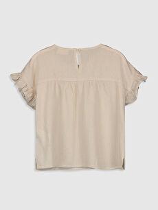 %98 Viskoz %2 Metalik iplik Düz Kısa Kol Bluz Standart Kız Çocuk Fırfırlı Viskon Bluz