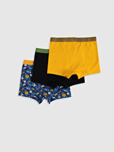 %95 Pamuk %5 Elastan Standart İç Giyim Alt Erkek Çocuk Pamuklu Boxer 3'lü