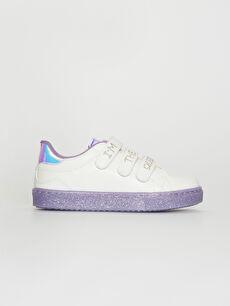Beyaz Kız Çocuk Hologram Detay Cırt Cırtlı Günlük Ayakkabı 0SH720Z4 LC Waikiki