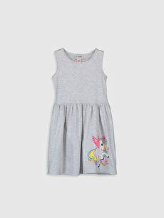 Gri Kız Çocuk Desenli Pamuklu Elbise 0SJ837Z4 LC Waikiki
