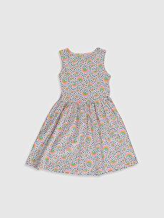 %100 Pamuk Mini Baskılı Kız Çocuk Desenli Pamuklu Elbise