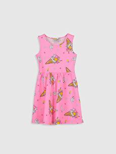 Pembe Kız Çocuk Desenli Pamuklu Elbise 0SJ837Z4 LC Waikiki