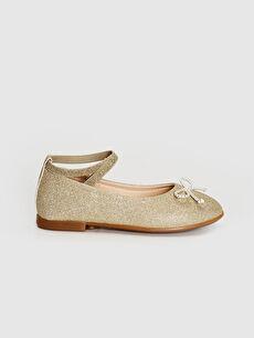 %0 Tekstil malzemeleri (%100 poliester)  Kız Çocuk Simli Şık Babet Ayakkabı