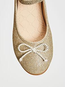 Sarı Kız Çocuk Simli Şık Babet Ayakkabı