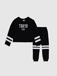 Siyah Kız Çocuk Sweatshirt ve Eşofman Altı 0SO594Z4 LC Waikiki