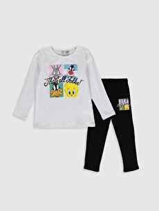 Kız Çocuk Looney Tunes Baskılı Pamuklu Pijama Takımı