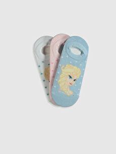 Kız Çocuk Frozen Lisanslı Babet Çorap 3'lü