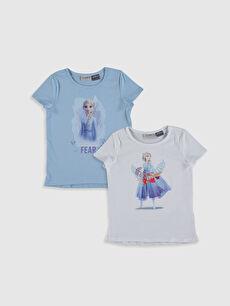 Kız Çocuk Elsa Baskılı Pamuklu Tişört 2'li