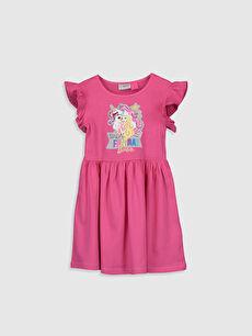 Kız Çocuk Barbie Baskılı Pamuklu Elbise
