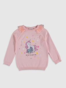 Kız Çocuk Unicorn Desenli İnce Triko Kazak
