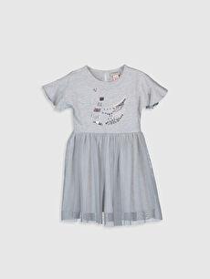 Kız Çocuk Pul İşlemeli Tüllü Elbise