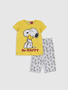 Kız Çocuk Snoopy Baskılı Pamuklu Pijama Takımı