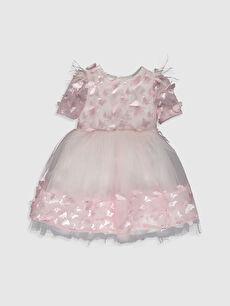 Baskılı Elbise Daisy Girl Kız Bebek Kelebek Detaylı Abiye Elbise