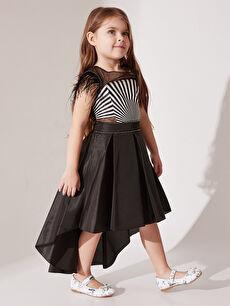 Daisy Girl Kız Çocuk Kolları Tüylü Abiye Elbise
