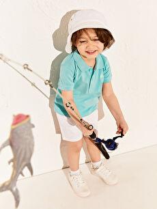 %100 Pamuk Erkek Bebek Polo Yaka Basic Tişört