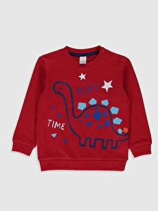Kırmızı Erkek Bebek Baskılı Sweatshirt 0S0358Z1 LC Waikiki