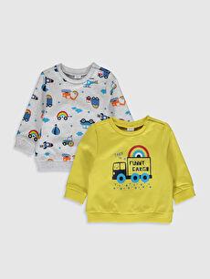 Sarı Erkek Bebek Baskılı Sweatshirt 2'li 0S1272Z1 LC Waikiki