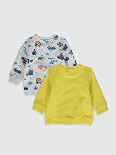 %95 Pamuk %5 Elastan  Erkek Bebek Baskılı Sweatshirt 2'li