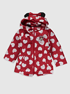 Kırmızı Kız Bebek Minnie Mouse Baskılı Kapüşonlu Mont 0S1615Z1 LC Waikiki