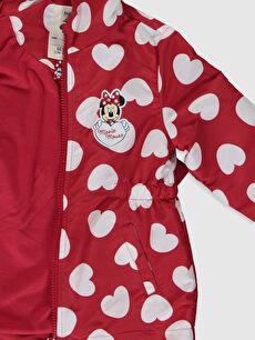 Kız Bebek Kız Bebek Minnie Mouse Baskılı Kapüşonlu Mont
