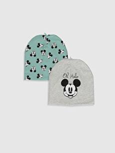 Ekru Erkek Bebek Mickey Mouse Baskılı Bere 2'li 0S1722Z1 LC Waikiki