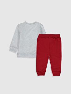%95 Pamuk %5 Elastan  Erkek Bebek Baskılı Sweatshirt ve Pantolon
