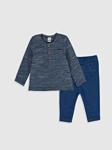 Lacivert Erkek Bebek Tişört ve Pantolon 0S2179Z1 LC Waikiki