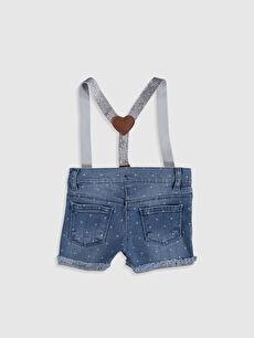 %99 Pamuk %1 Elastan %75 Polyester %25 ELASTODİEN Şort Kız Bebek Baskılı Jean Şort ve Pantolon Askısı