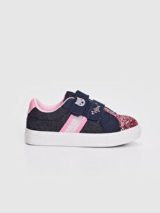 Kız Bebek Pul Payetli Bez Sneaker Ayakkabı