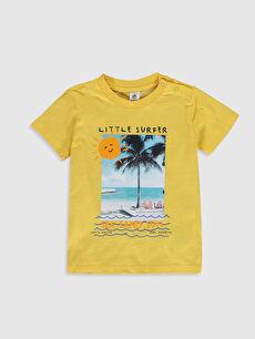 Sarı Erkek Bebek Baskılı Pamuklu Tişört 0S5858Z1 LC Waikiki
