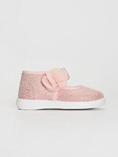 Kız Bebek Çiçek Detaylı Bez Babet Ayakkabı