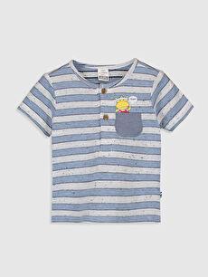 Beyaz Erkek Bebek Çizgili Pamuklu Tişört 0S6499Z1 LC Waikiki
