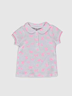 Kız Bebek Desenli Pamuklu Tişört