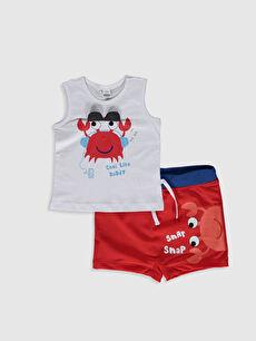 Beyaz Erkek Bebek Baskılı Plaj Kıyafeti 0S8971Z1 LC Waikiki